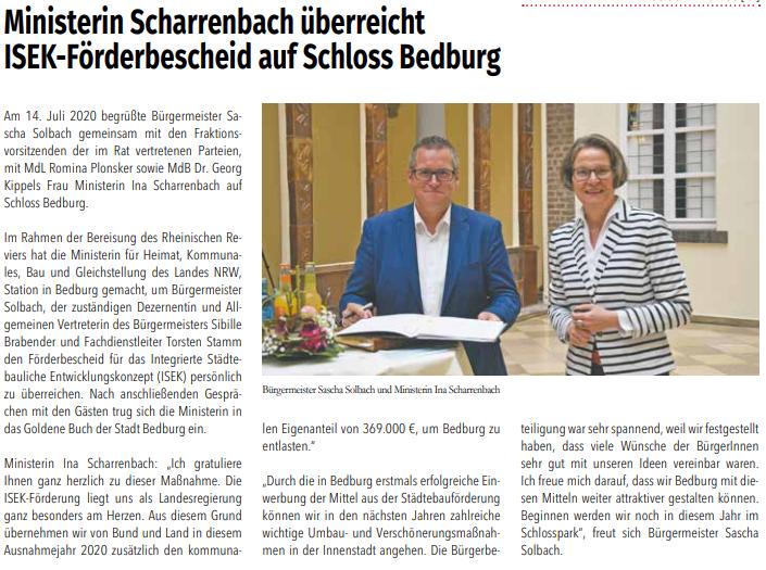 Scharrenbach überreicht ISEK-Förderbescheid